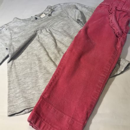 6-9 Month Cord Trousers and Grey Top.